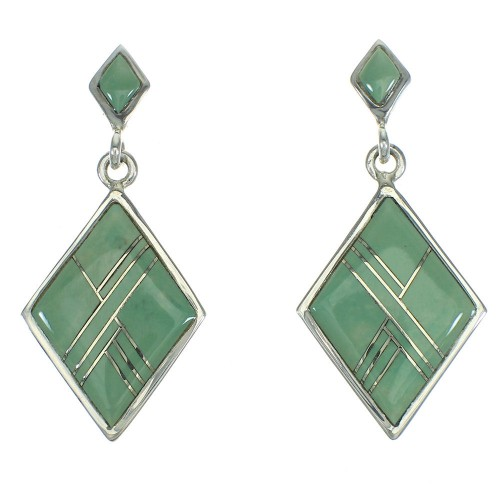 Turquoise Inlay Sterling Silver Post Dangle Earrings AX67606