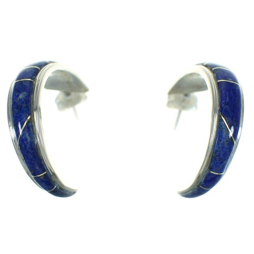 Authentic Sterling Silver Lapis Inlay Southwest Post Hoop Earrings QX69589