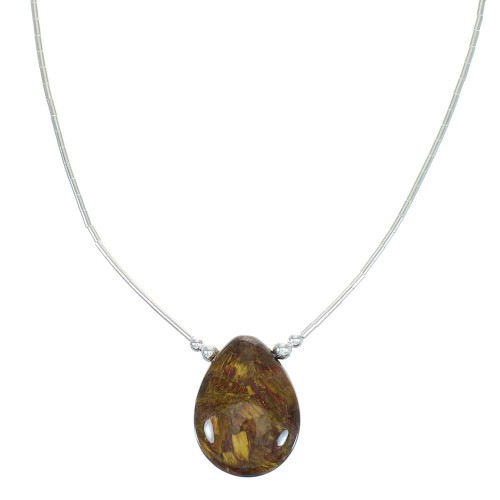 Liquid Sterling Silver And Pietersite Bead Necklace WX65918