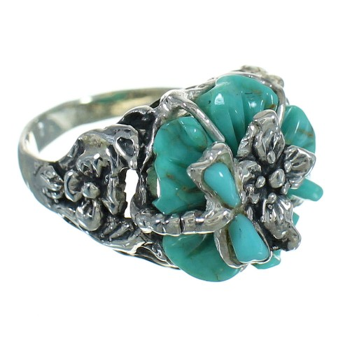 Sterling Silver And Turquoise Inlay Southwest Flower Dragonfly Ring Size 5-1/4 YX68960