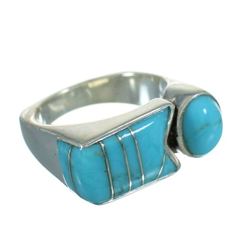 Turquoise And Genuine Sterling Silver Southwest Ring Size 6 YX69389