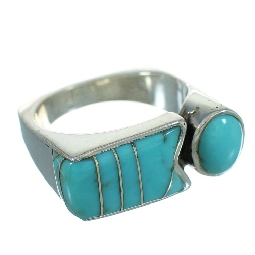 Sterling Silver And Turquoise Southwestern Ring Size 7-3/4 YX69411