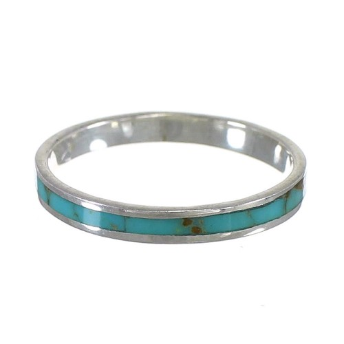 Turquoise Inlay Stackable Southwestern Sterling Silver Ring Size 5-1/4 QX68932