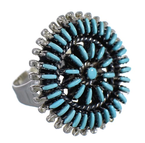 Silver Turquoise Needlepoint Ring Size 6-3/4 YX78569