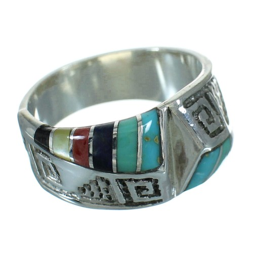 Silver Southwest Multicolor Water Wave Ring Size 8-1/2 QX81649