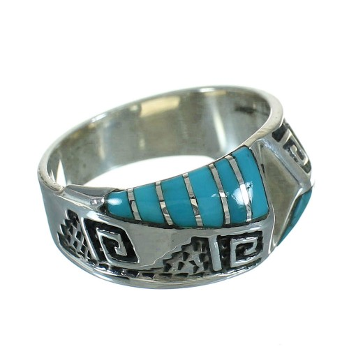 Turquoise Silver Southwestern Water Wave Ring Size 8-3/4 QX81652