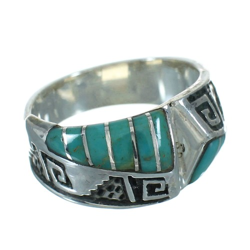 Water Wave Sterling Silver Southwestern Turquoise Ring Size 8-1/4 QX81743