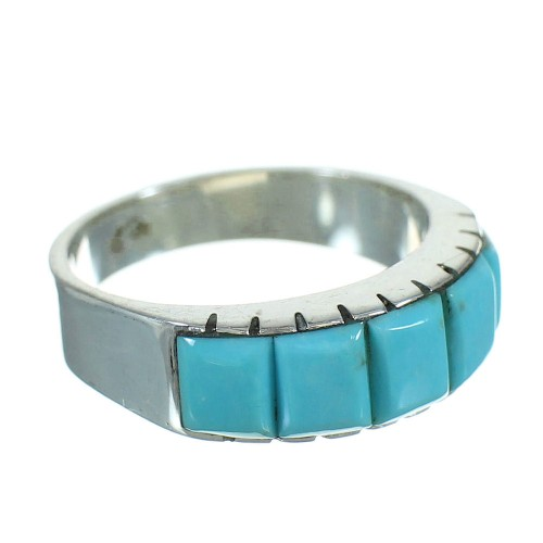 Authentic Sterling Silver And Turquoise Southwestern Ring Size 6-3/4 YX76486