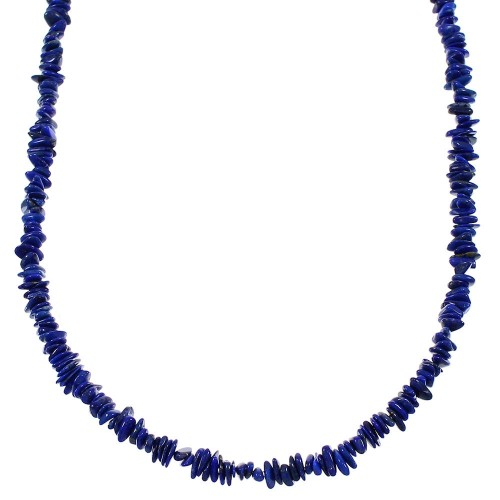 Southwest Sterling Silver Lapis Bead Necklace WX66023
