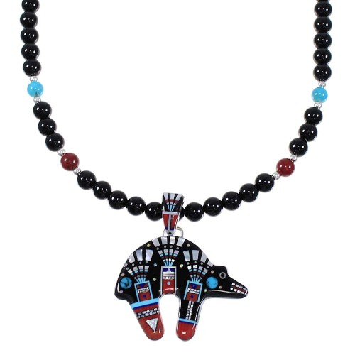 Multicolor Inlay Bear Sterling Silver Necklace Set AX68455