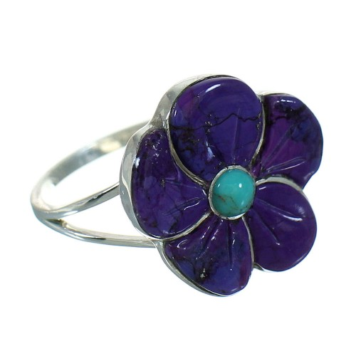Authentic Sterling Silver Magenta Turquoise And Turquoise Southwestern Flower Ring Size 7-1/4 YX67122
