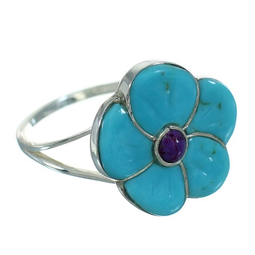 Turquoise And Magenta Turquoise Flower Authentic Sterling Silver Ring Size 6-1/2 YX67196