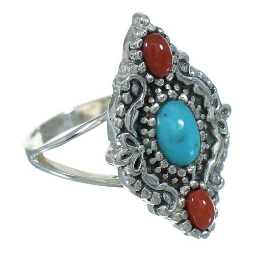 Turquoise Coral Silver Southwestern Ring Size 5-1/4 YX70135