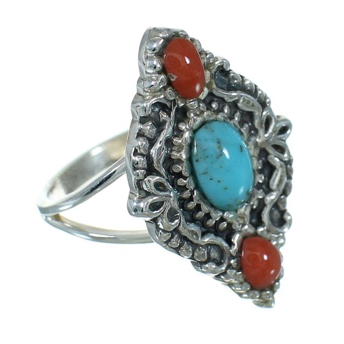 Silver Turquoise And Coral Southwestern Ring Size 6-1/4 YX70159