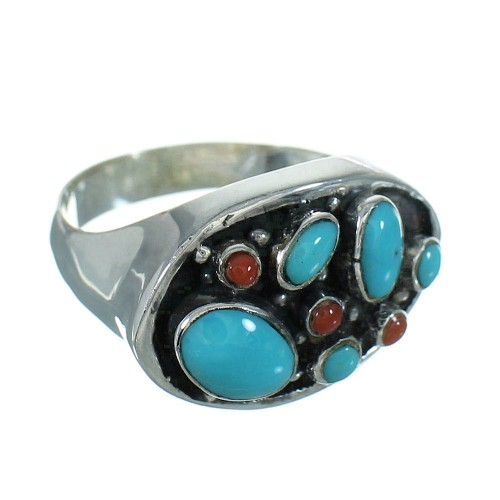 Genuine Sterling Silver Turquoise And Coral Southwestern Ring Size 7-1/2 YX70174