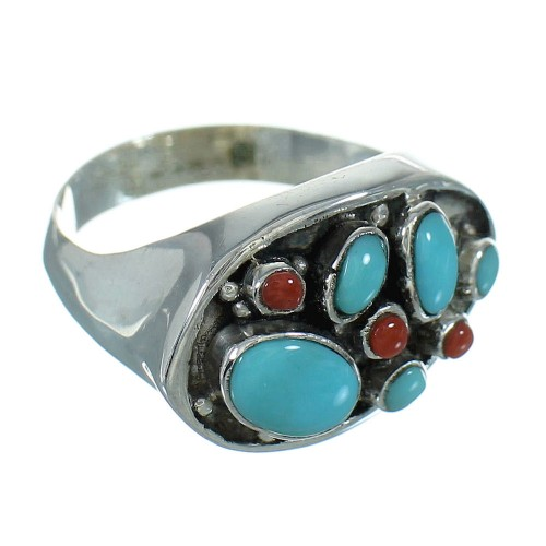 Coral Turquoise And Silver Southwestern Jewelry Ring Size 7-1/2 YX70189