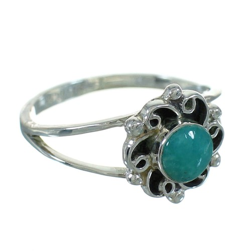 Southwestern Authentic Sterling Silver Turquoise Ring Size 7-1/2 QX69075