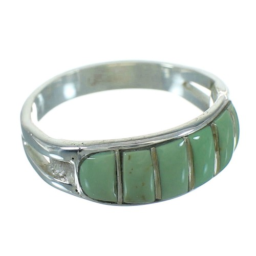 Turquoise Inlay Genuine Sterling Silver Ring Size 5-3/4 QX69091
