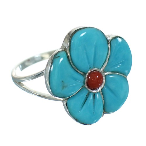 Southwestern Flower Sterling Silver Turquoise Coral Ring Size 5-1/4 QX72739