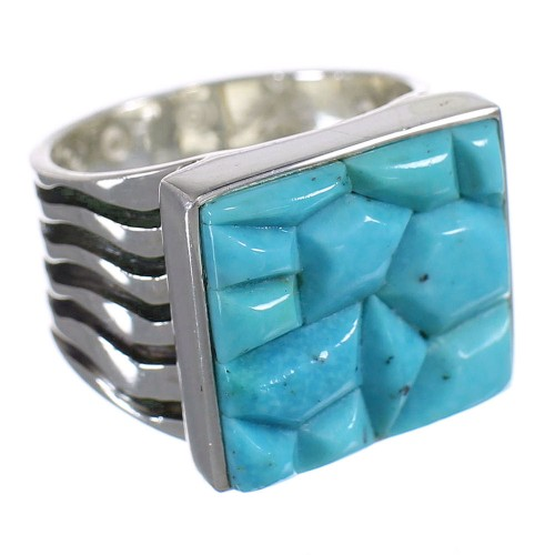 Authentic Sterling Silver And Turquoise Southwest Ring Size 6-1/4 YX68721