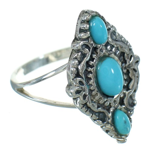 Southwestern Turquoise Silver Ring Size 6-3/4 YX71453