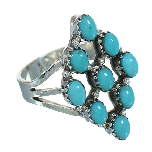 Authentic Sterling Silver And Turquoise Southwest Ring Size 6-1/2 YX71476