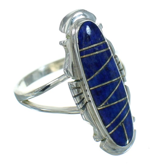 Southwestern Lapis Inlay And Sterling Silver Ring Size 6-3/4 YX66943
