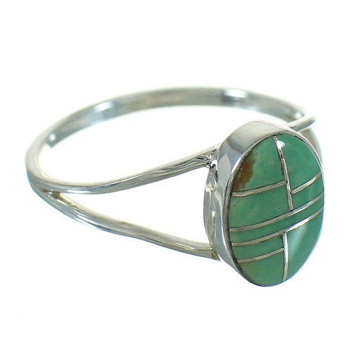 Turquoise Inlay And Genuine Sterling Silver Southwest Ring Size 5-3/4 WX80079