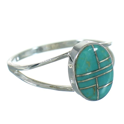 Genuine Sterling Silver And Turquoise Inlay Southwestern Ring Size 7-1/4 WX80090