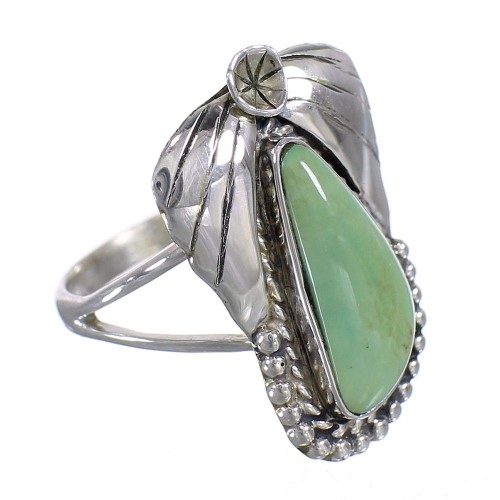 Silver Southwest Turquoise Flower Ring Size 4-1/2 QX80686