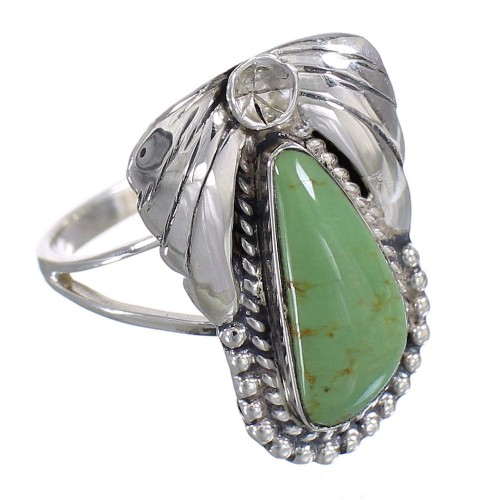 Turquoise Silver Southwestern Flower Ring Size 6 QX80749