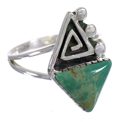 Turquoise Water Wave Genuine Sterling Silver Southwestern Ring Size 6-1/4 QX80783