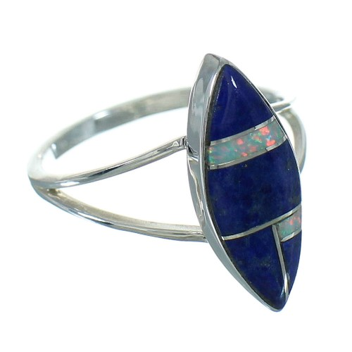 Lapis Opal And Silver Southwestern Ring Size 6-1/2 YX81774