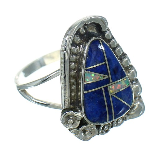 Silver Lapis And Opal Southwestern Flower Ring Size 6-1/2 YX81822