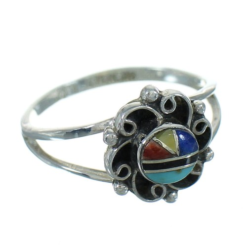 Multicolor Inlay Genuine Sterling Silver Southwest Ring Size 6-1/2 QX74728