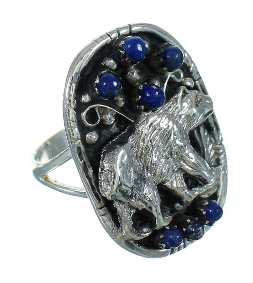 Lapis Genuine Sterling Silver Southwestern Bear Ring Size 7-1/2 YX81551