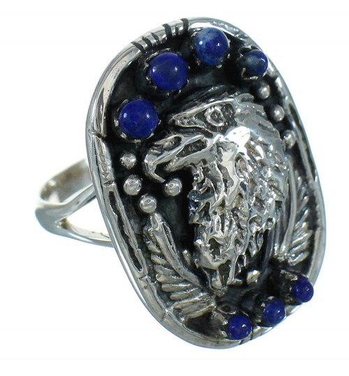 Southwestern Silver And Lapis Eagle Ring Size 7-1/4 YX81591