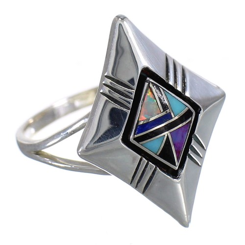Southwestern Sterling Silver And Multicolor Inlay Ring Size 6-1/4 WX79895