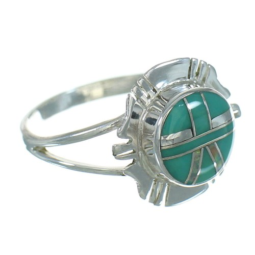 Opal And Turquoise Inlay Silver Southwestern Ring Size 7 WX73736