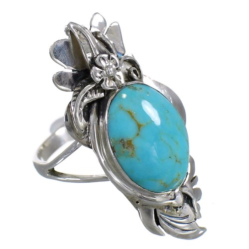 Turquoise And Sterling Silver Southwest Flower Ring Size 5-1/2 YX79875