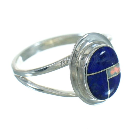 Authentic Sterling Silver Southwestern Lapis Opal Ring Size 6 QX81549