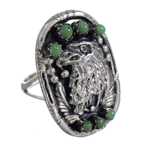 Genuine Sterling Silver Turquoise Eagle Ring Size 4-1/4 RX80376