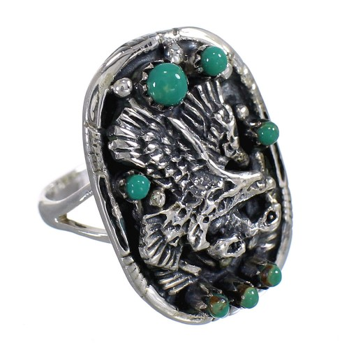 Southwest Sterling Silver Turquoise Eagle Ring Size 7 RX80491