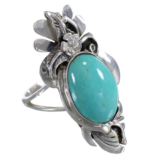Turquoise Sterling Silver Southwestern Flower Ring Size 7-1/2 YX73686
