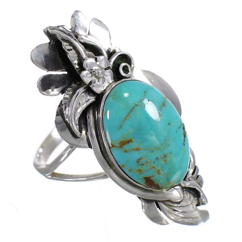 Turquoise And Sterling Silver Southwestern Flower Ring Size 5-1/2 YX73697