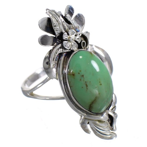 Silver Turquoise Jewelry Flower Ring Size 8 YX73755