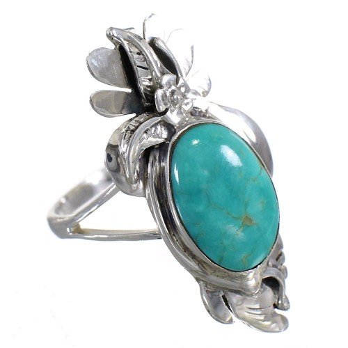Sterling Silver Turquoise Southwest Jewelry Flower Ring Size 8-1/2 YX73764
