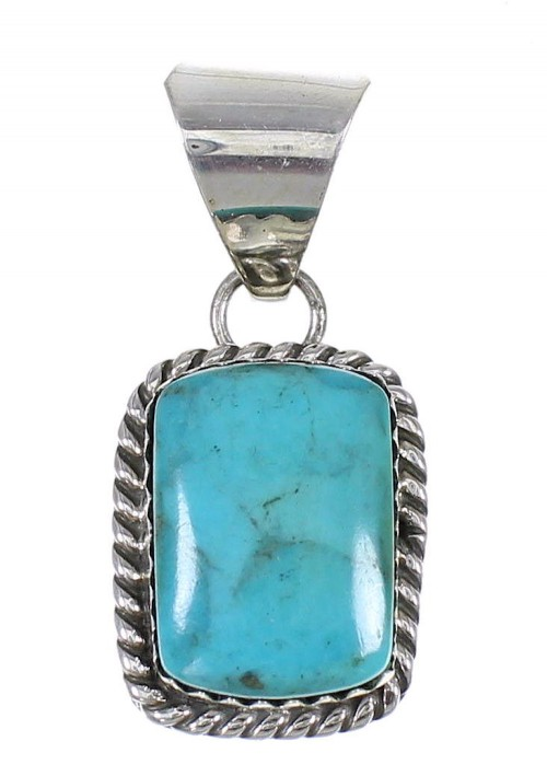 American Indian Turquoise Genuine Sterling Silver Pendant RX67809