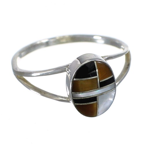 Silver And Multicolor Southwestern Ring Size 6-1/4 YX73641