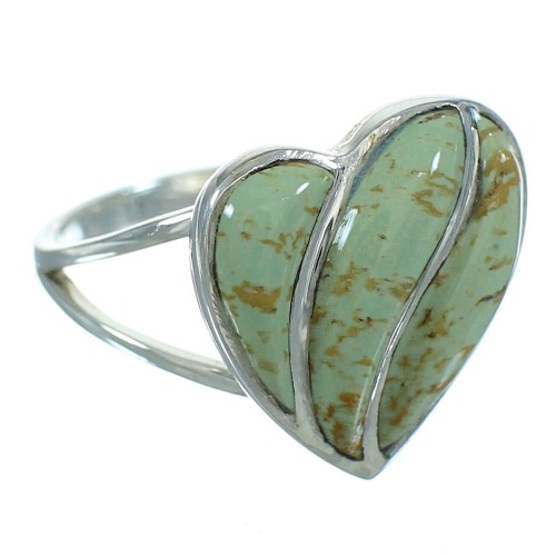 Turquoise And Authentic Sterling Silver Heart Southwest Ring Size 5-1/4 YX69597